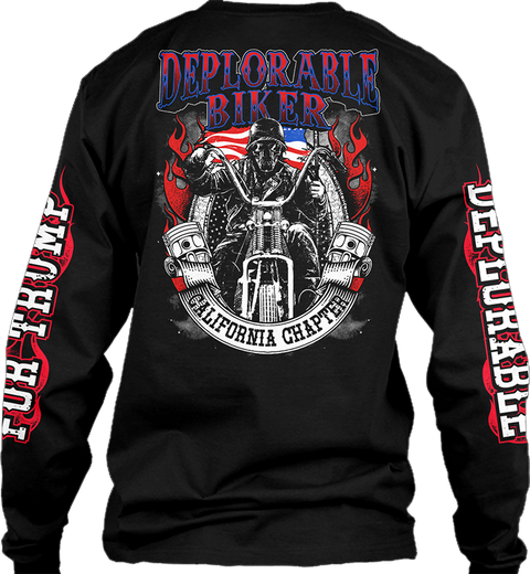 Deplorable. Baker California Chapter Black T-Shirt Back