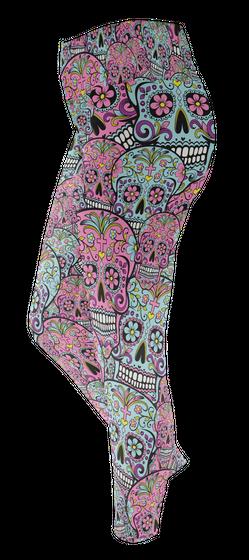 Sugar Skull Leggings Custom Legging T-Shirt Back