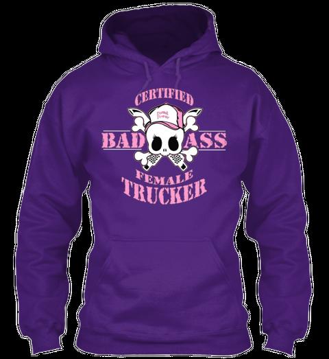 Certified Badass Female Trucker  Purple Maglietta Front