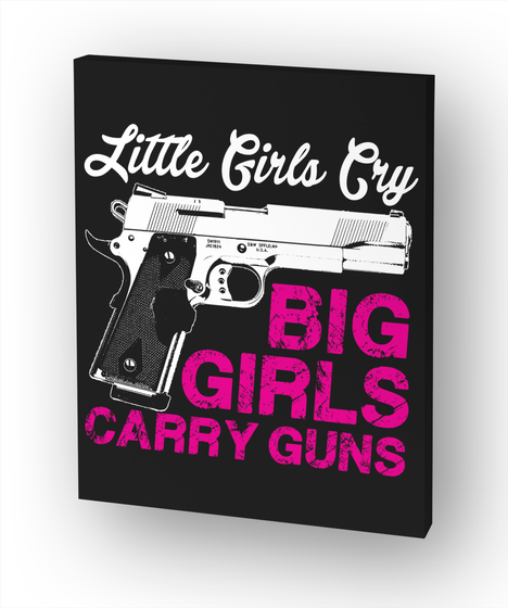 Gun Lovers Print   Girls Carry Gun White Camiseta Front