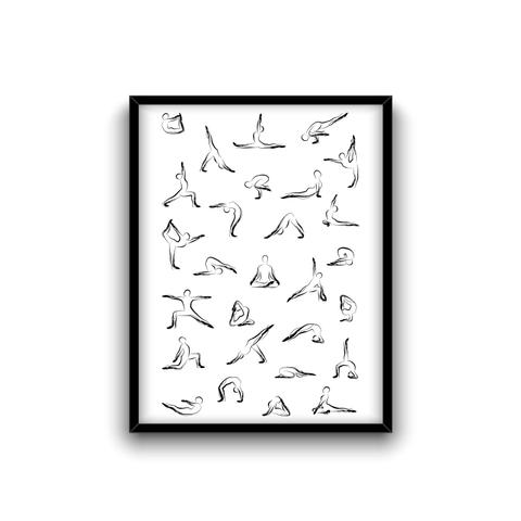Yoga Art Print   Yoga Studio Decor  T-Shirt Front