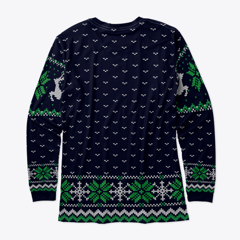 Ugly Christmas Leaping Reindeer  Blue Standard T-Shirt Back