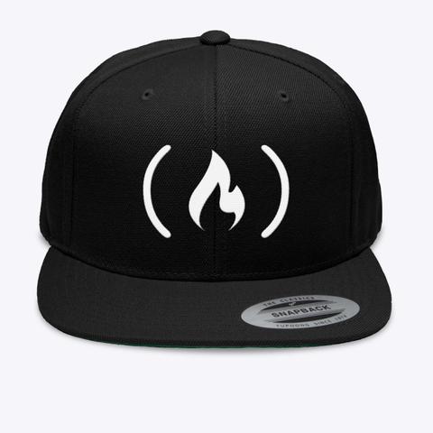 Embroidered Flat Brim Cap Black Camiseta Front