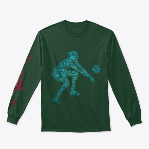 Volleyball Libero Digging Polish Flag Forest Green T-Shirt Front