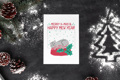 Merry X Mas And Happy Mew Year Christmas  T-Shirt Left
