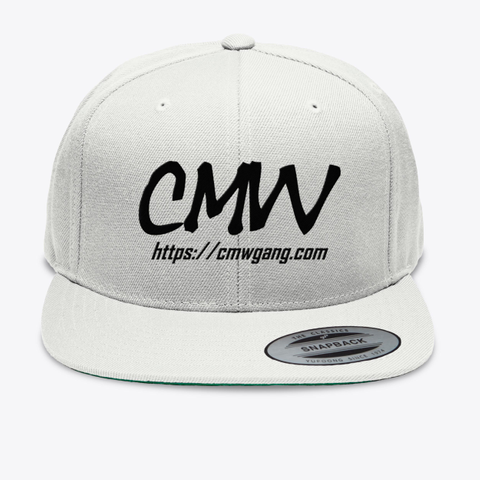 Cmw Cap (Black Embroidery) White T-Shirt Front