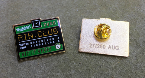 Uni Watch Pin Club: August One Size T-Shirt Back