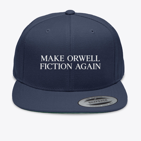 Make Orwell Fiction Again Navy T-Shirt Front