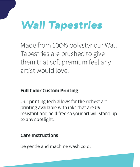 Wall Tapestries Made From 100% Polyester Our Wall Tapestries Are Brushed To Give Them Soft Premium Feel Any Artist... White Kaos Back