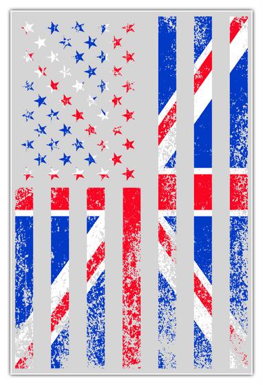 Poster — Usa + Uk Flag White T-Shirt Front