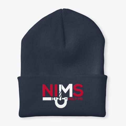 Nims Help Me Beanie Navy Navy T-Shirt Front