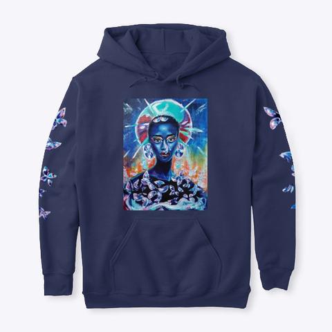 """B34 Ut1 Ful""   Hoodie Navy T-Shirt Front"