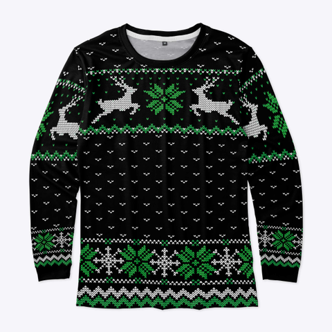 Ugly Christmas Leaping Reindeer Black Standard T-Shirt Front