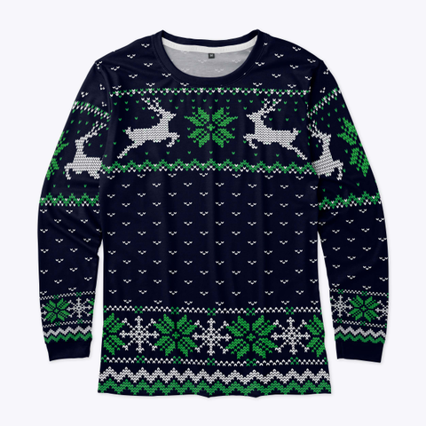Ugly Christmas Leaping Reindeer  Blue Standard T-Shirt Front