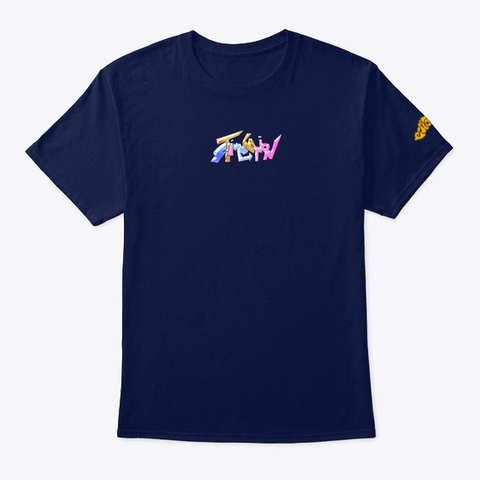 """Stimulation""   Tee (Back Design) Navy T-Shirt Front"