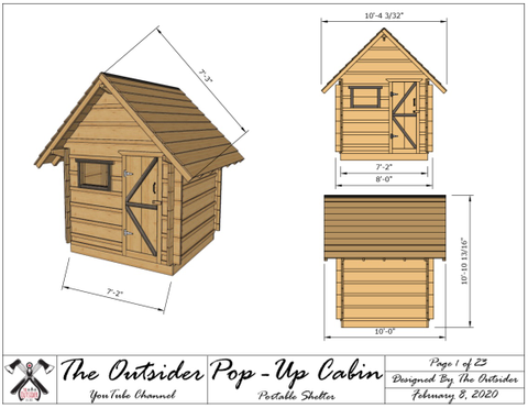 Pop Up Cabin Plans (Pdf)  T-Shirt Right