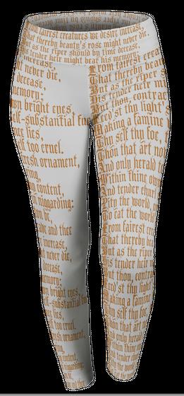 Shakespeare Sonnets Literature Leggings  Premium T-Shirt Front