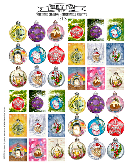 Holiday Tags Art By Stephanie Bergeron   Deliberately Create Set 2  T-Shirt Front