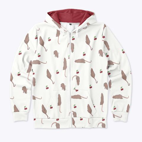 Cherry Rat Zip Hoodie In White Standard T-Shirt Front