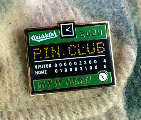 Uni Watch Pin Club: August One Size T-Shirt Front