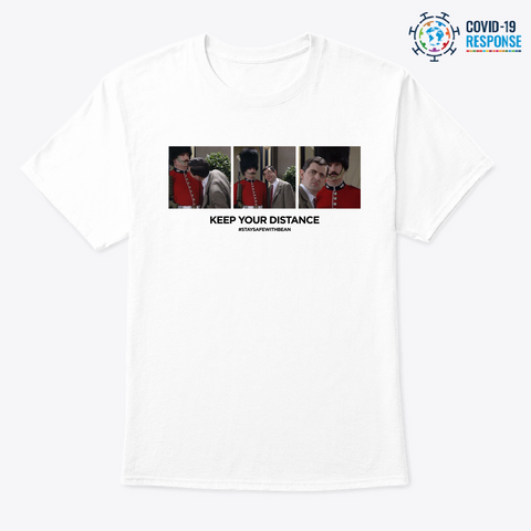 Mr Bean   Keep Your Distance White T-Shirt Front