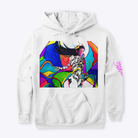 """Oversaturation""   Hoodie White T-Shirt Front"