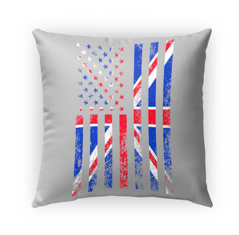 Outdoor Pillow 18x18  — Usa + Uk Flag White T-Shirt Front