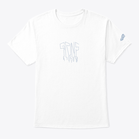 """Grins""   Tee (Back Design) White T-Shirt Front"