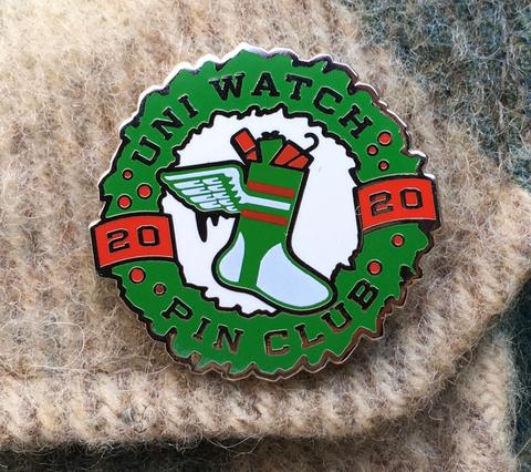 Uni Watch Pin Club: December 2020 Standard T-Shirt Front