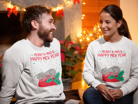 Merry X Mas And Happy Mew Year Christmas  T-Shirt Front