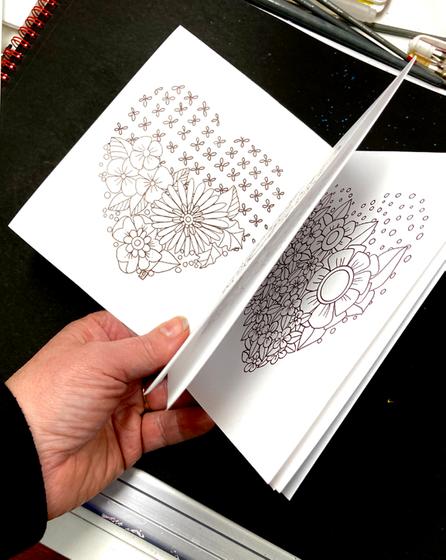 Creative Hearts Mini Coloring Book Cards  T-Shirt Left