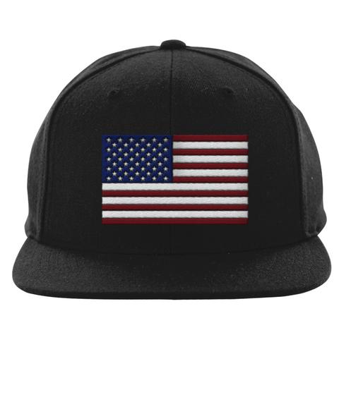American Flag Flexfit Hat Black T-Shirt Front