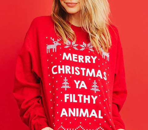 Merry Christmas Ya Filthy Animal Deep Red  Sweatshirt Back