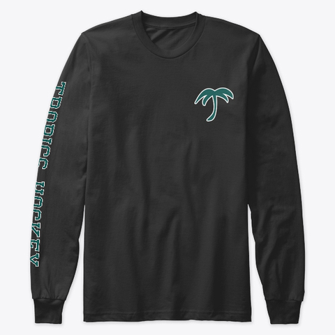 Tropics Hockey Sleeve Print Black Long Sleeve T-Shirt Front