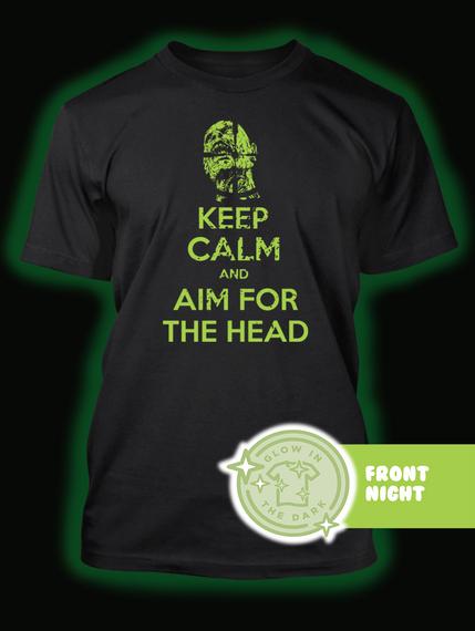 Keep Calm And Aim For The Head Black T-Shirt Back