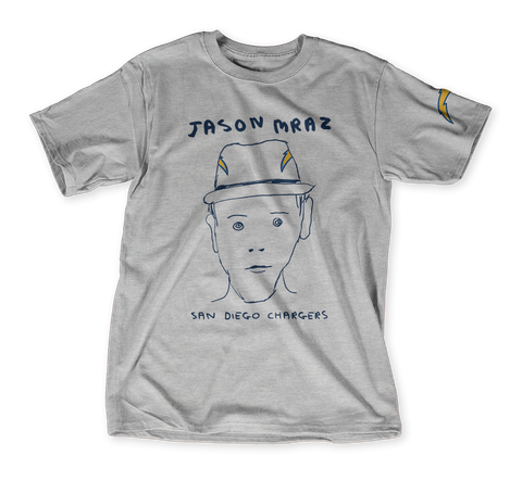 Jason Mraz San Diego Chargers Light Heather Grey T-Shirt Front