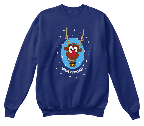 Merry Christmas Oxford Navy Sweatshirt Front