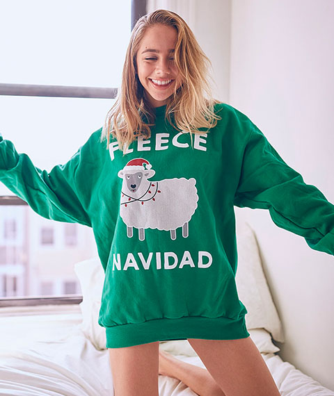 Fleece Navidad Kelly Green  Sweatshirt Back