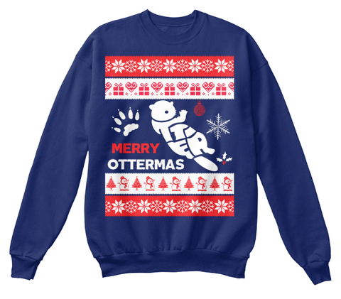 Merry Christmas Oxford Navy Sweater Front
