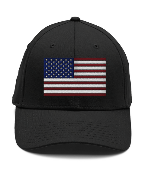 American Flag Flexfit Hat Black Hat Front