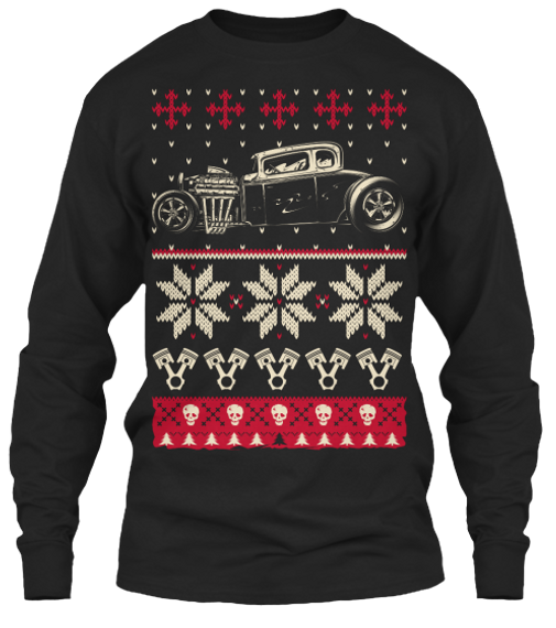 Hot Rod Ugly Christmas Long Sleeve T-Shirt Front