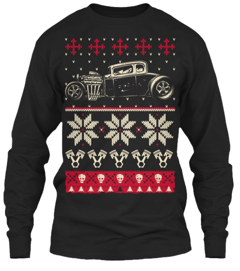 Hot Rod Ugly Christmas Sweater Shirt Black Lange Mouwen T-Shirt Front