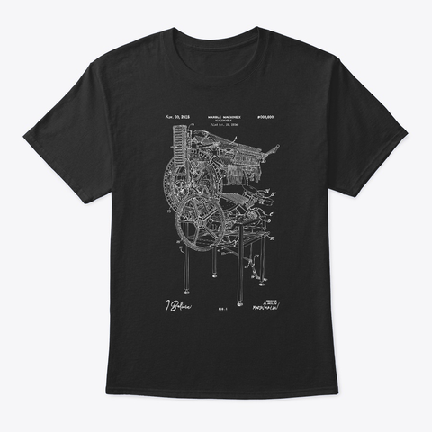 "Marble Machine X ""I Believe""   Blueprint Organic Tee   Black & Navy (Eu) Black T-Shirt Front"