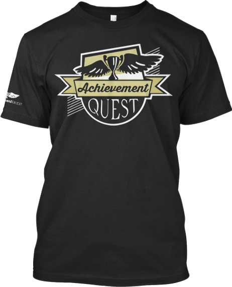 Achievement Quest  Black T-Shirt Front