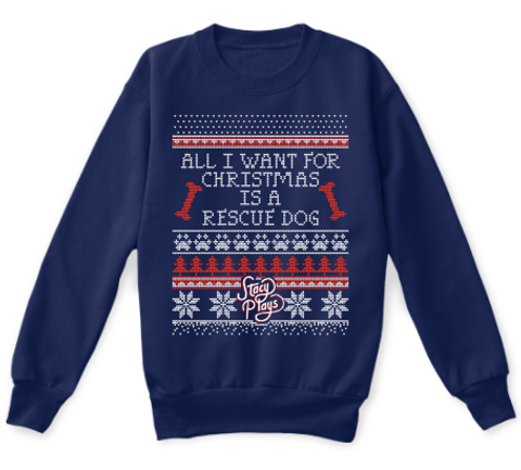 All I Want For Christmas Is A Rescue Dog Navy T-Shirt Front
