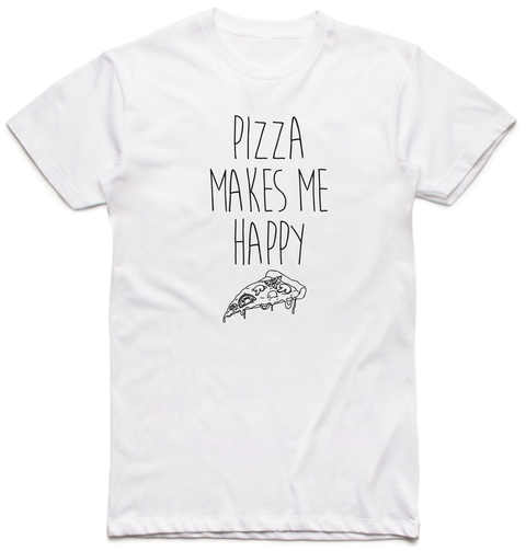 Pizza Makes Me Happy Arctic White T-Shirt Front