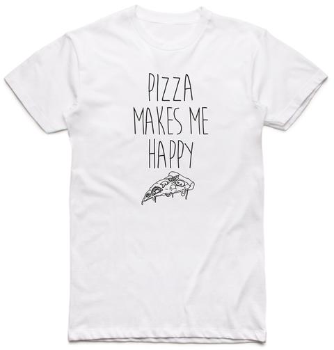 Pizza Makes Me Happy Arctic White T-Shirt Front