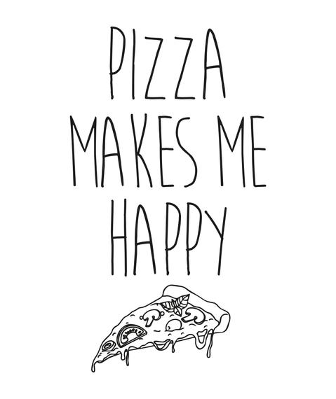Pizza Makes Me Happy Arctic White T-Shirt Back