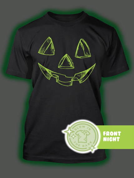 Pumpkin Face Halloween Costume   Gitd Black T-Shirt Back