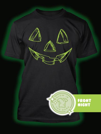 Pumpkin Face Halloween Costume   Gitd Black T-Shirt Back
